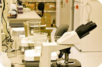 Labori sisevaade mikroskoobiga esiplaanil